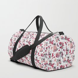 Hygge raccoon // white background Duffle Bag