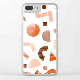 geometric shapes peach Clear iPhone Case
