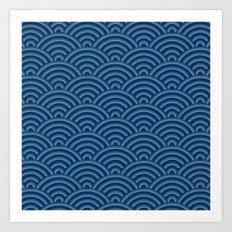 Japanese Seigaija Pattern_Indigo Art Print