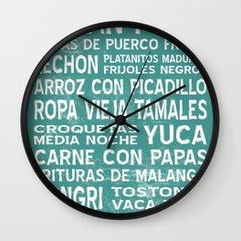 Cuban Food Word Art Poster (Teal) Wall Clock