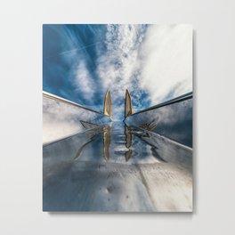 Bright metal slide, blue sky and white clouds Metal Print