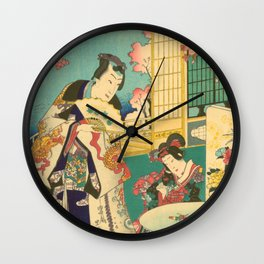Spring Outing In A Villa Diptych #1 by Toyohara Kunichika Wall Clock
