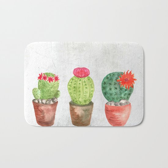Three Cacti watercolor white Bath Mat