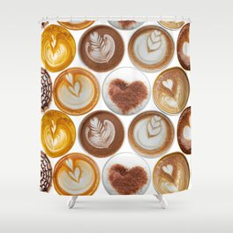 Latte Polka Dots in White Shower Curtain