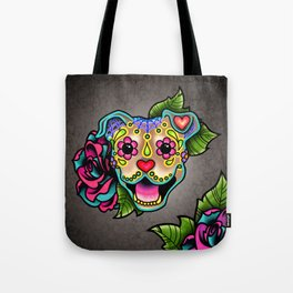 Smiling Pit Bull in Fawn - Day of the Dead Pitbull Sugar Skull Tote Bag