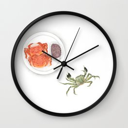 Watercolor Illustration | Chinese Cuisine | Hairy Crab | 大闸蟹 Wall Clock