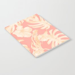 Pretty Pink and Coral Topical Monstera Pattern Notebook