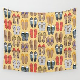 Hard choice // shoes on yellow background Wall Tapestry