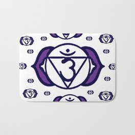 "PURPLE SANSKRIT CHAKRAS  PSYCHIC WHEEL ""SEE"" Bath Mat"