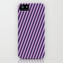 Vibrant Pink, Medium Slate Blue, Brown, Dark Blue & Gray Colored Striped/Lined Pattern iPhone Case
