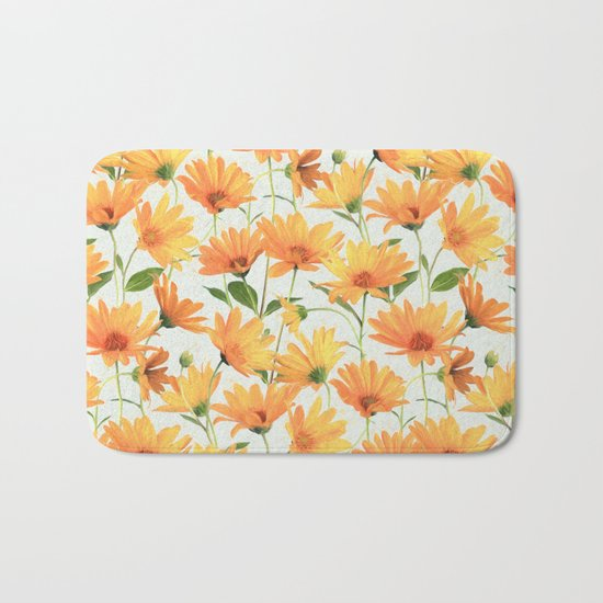 Painted Radiant Orange Daisies on off-white Bath Mat