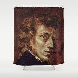 Eugene Delacroix- Portrait of Chopin Shower Curtain