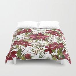 Poinsettia Flowers Duvet Cover