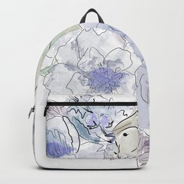 Loose bird of paradise, blue paradisebirds, floral  graphicdesign, birds, home decor Backpack