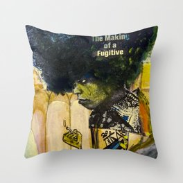 Painting and Newspaper Collage of Angela Davis on the cover of TIME Magazine Throw Pillow
