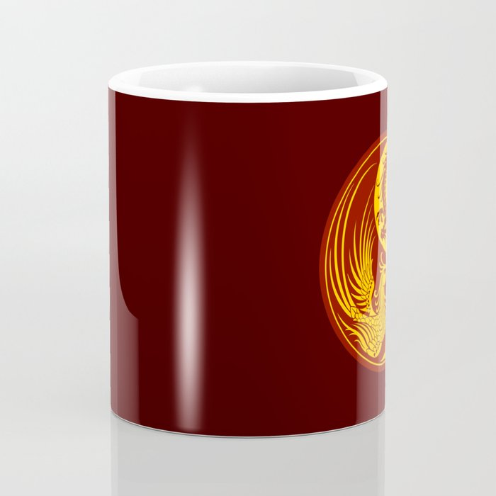 Yellow and Red Dragon Phoenix Yin Yang Coffee Mug