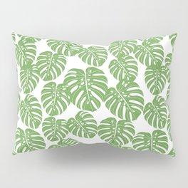 Monstera leaf tropical pattern minimal botanical design by andrea lauren Pillow Sham