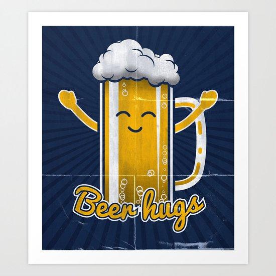 Beer Hugs Art Print