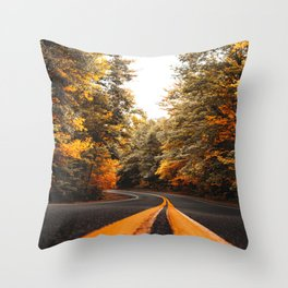 on the road in vermont Throw Pillow