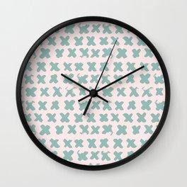 Contemporary X Paint Cross stich Pink Mint Pattern Wall Clock