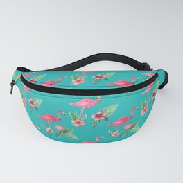 Flamingo floral pink and teal Fanny Pack