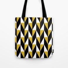 Mustard & black triangle mid-century pattern Tote Bag