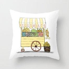 Vegetable Cart Throw Pillow