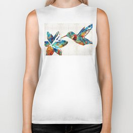 Colorful Hummingbird Art by Sharon Cummings Biker Tank