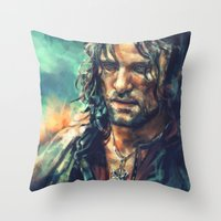 lotr Throw Pillows featuring Elessar by Alice X. Zhang
