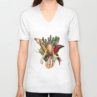 safari V-neck T-shirts featuring Safari  by polina stroganova collages