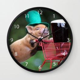 Puppy pig shopping cart Wall Clock