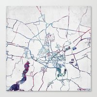 england Canvas Prints featuring Chichester England  by MapMapMaps.Watercolors