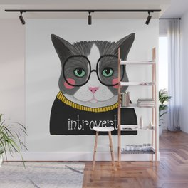whistleburg - Introvert Cat Wall Mural
