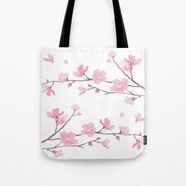 Square- Cherry Blossom - Transparent Background Tote Bag
