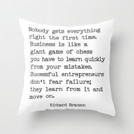 Successful entrepreneurs - Richard Branson quote Throw Pillow