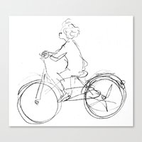 cycling Canvas Prints featuring Cycling by Maiko Horita