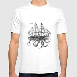 Octopus Attacks Ship on White Background T-shirt