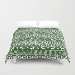 German Shepherd fair isle christmas pattern dog gifts dog breeds pet art holiday green and white Duvet Cover