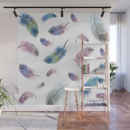 Colourful Feather Pattern Wall Mural