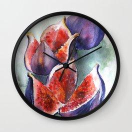 Fig Watercolor Fruits Wall Clock