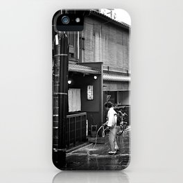 Watering the Streets of Gion, Kyoto iPhone Case
