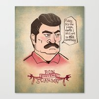 ron swanson Canvas Prints featuring Ron Swanson by Monica McClain