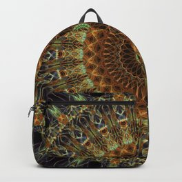 Detailed mandala in brown, green and red tones Backpack