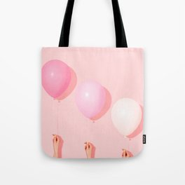 Three balloons in blush Tote Bag