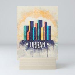 Abstract Modern Watercolro Cityscape Urban Sapce Mini Art Print