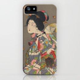 Japanese Art Print - Woman and Fireflies iPhone Case