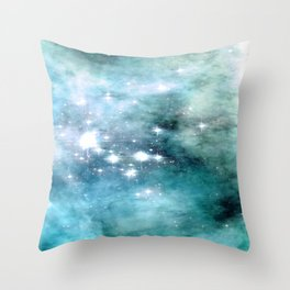 nEbulA Aqua Teal Sparkle Throw Pillow