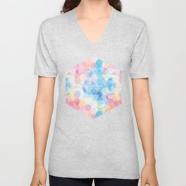 Hive: pink and blue hexagon pattern Unisex V-Neck