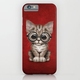 Cute Brown Tabby Kitten Wearing Eye Glasses on Red iPhone Case