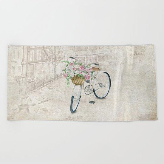Vintage bicycles with roses basket Beach Towel